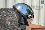 Chrome Skid Lid Vintage Style Helmet. Contoured helmet with a low-profile fit, Thermoplastic alloy injected shell, With D-Ring Retention Straps. Meets or Exceeds D.O.T. Standards.