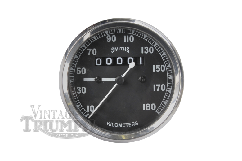 Speedometer Gauge 0-180 KPH Black Replica - Smith - 80mm Dia