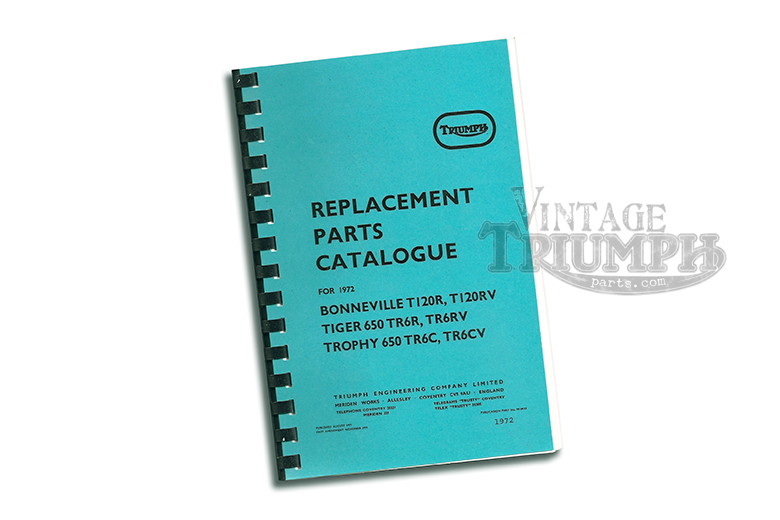 replacement parts catalogue manual for Triumph 1972