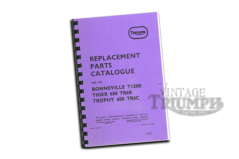 Replacement Parts Catalogue Manual Triumph 1971