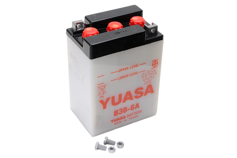 Battery - 6volt Yuasa Standard. Early Style Battery To Fit Triumph Models 3TA Twenty One 1958-1965, 5TA Speed Twin 1959-1965, T100A Tiger 1959-1961