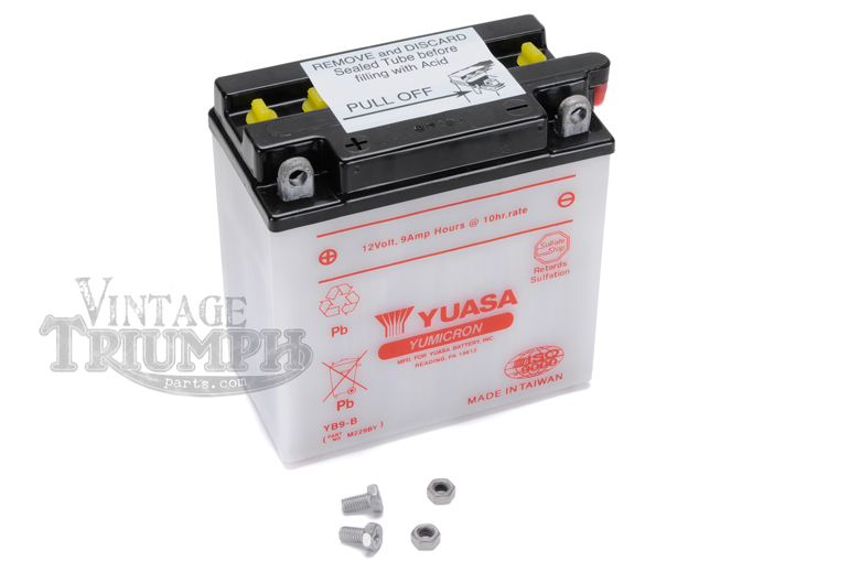 Battery - 12volt Yuasa Yumacron. Battery To Fit Triumph Models T100C Tiger 1966-1973, T100T/R Daytona 1967-1973, TR6 Trophy 1966-1972, T120 Bonneville 1966-1972, TR7 Trophy/ Tiger 1973-1983, T140 Bonneville 1973-1983